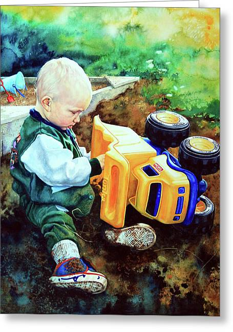Children Playing Print Greeting Cards - New Truck Greeting Card by Hanne Lore Koehler