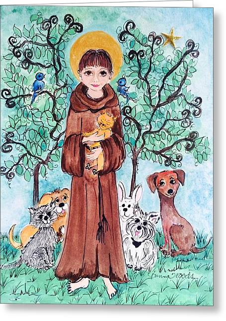 Love The Animal Greeting Cards - St. Francis of Assissi Greeting Card by Rosemary Woods