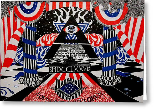 Ink Drawing Greeting Cards - New World Order Greeting Card by Red Gevhere