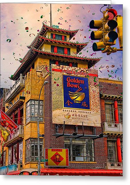 Mott Greeting Cards - New Year In Chinatown Greeting Card by Chris Lord