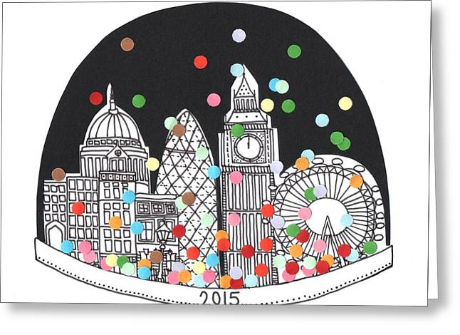 Domes Mixed Media Greeting Cards - New Year Greeting Card by Isobel Barber
