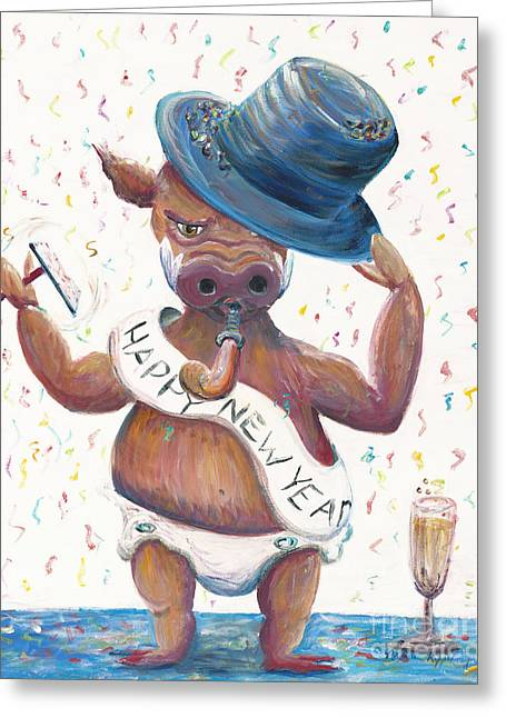 Bubbly Paintings Greeting Cards - New Years Hog Greeting Card by Nadine Rippelmeyer