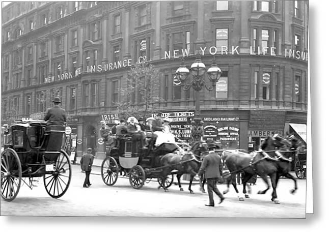 Buckboard Greeting Cards - New York 1898 Greeting Card by Stefan Kuhn