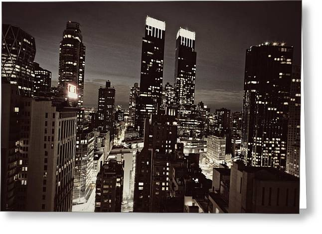 Best Sellers -  - Light And Dark Greeting Cards - New York After Dark Greeting Card by Ariane Moshayedi