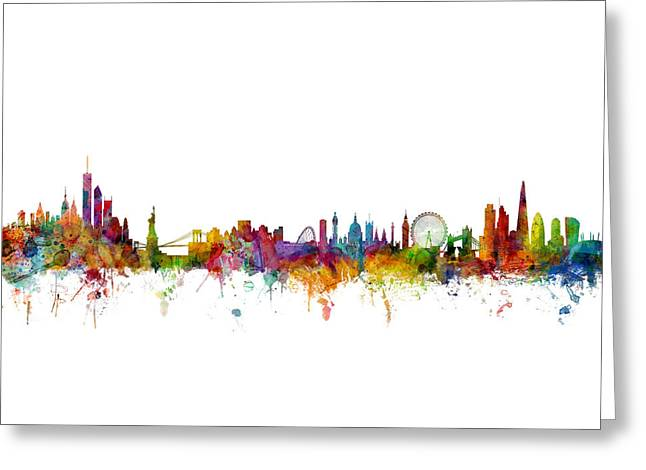 New York And London Skyline Mashup Greeting Card by Michael Tompsett