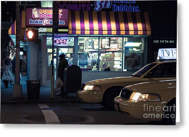 Fine Art In America Greeting Cards - New York at night  Greeting Card by John Farnan