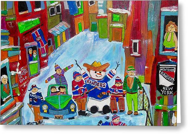 New York Back Lane Hockey Practice Greeting Card by Michael Litvack