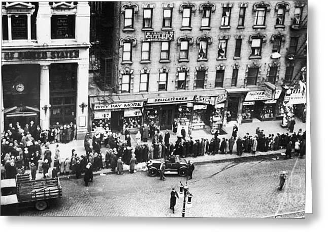 Financial Failure Greeting Cards - New York: Bank Run, 1930 Greeting Card by Granger