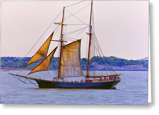Tall Ship Greeting Cards - New York Bay 2 Greeting Card by Claude LeTien