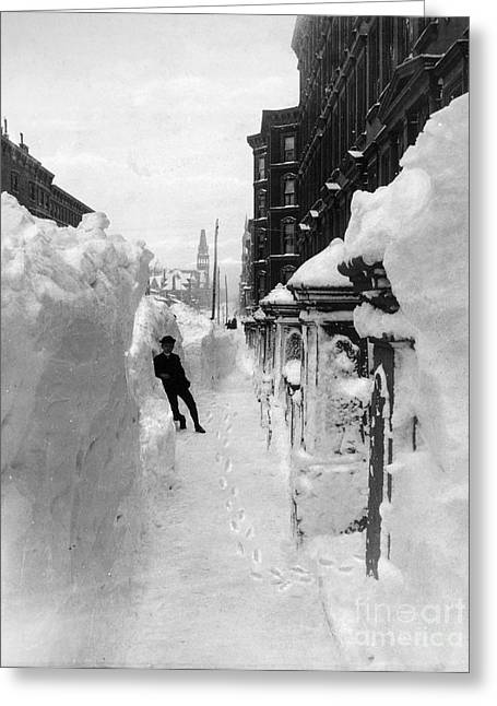 New York: Blizzard Of 1888 Greeting Card by Granger