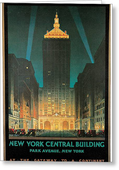 Night Scenes Greeting Cards - New York Central Building Greeting Card by Chesley Bonestell