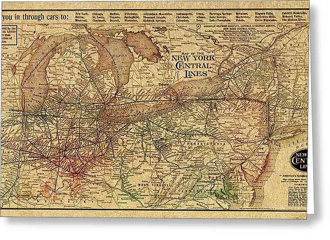 Old Map Mixed Media Greeting Cards - New York Central Lines Railway Map Vintage Circa 1918 on Worn Distressed Parchment Greeting Card by Design Turnpike