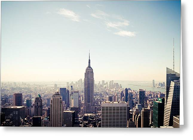 Top Of The Rock Greeting Cards - New York City - Empire State Building Panorama Greeting Card by Thomas Richter