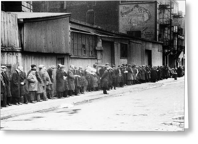 Great Depression Greeting Cards - New York City: Bread Line Greeting Card by Granger