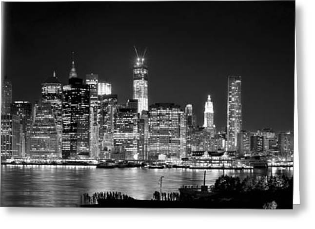 New York City Bw Tribute In Lights And Lower Manhattan At Night Black And White Nyc Greeting Card by Jon Holiday