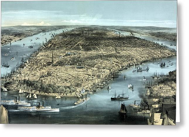 Battery Park Greeting Cards - New York City Circa 1850 Greeting Card by War Is Hell Store