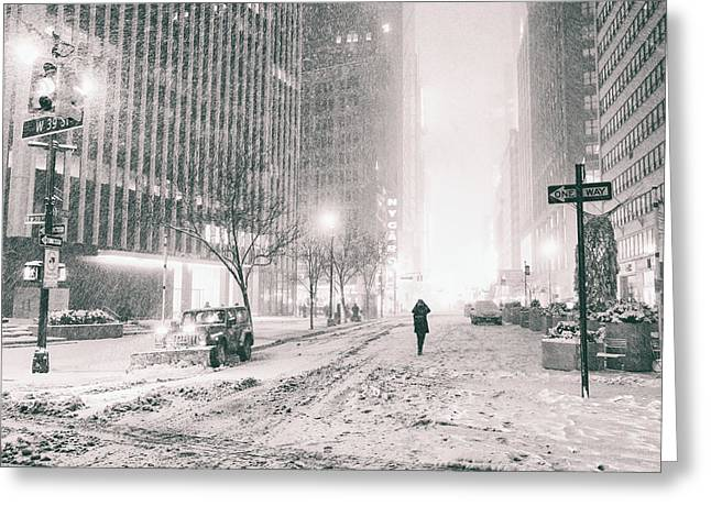 Snowstorm Greeting Cards - New York City - Empty Streets Greeting Card by Vivienne Gucwa