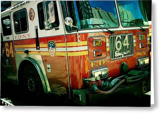 Fighters Greeting Cards - New York City Fire Engine Greeting Card by Miriam Danar