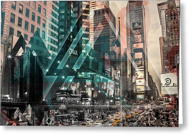 New York City Geometric Mix No. 4 Greeting Card by Melanie Viola