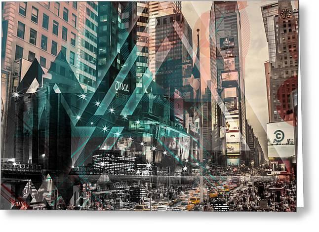 Geometric Digital Art Greeting Cards - New York City Geometric Mix No. 4 Greeting Card by Melanie Viola