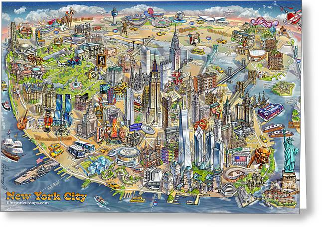 New York City Illustrated Map Greeting Card by Maria Rabinky