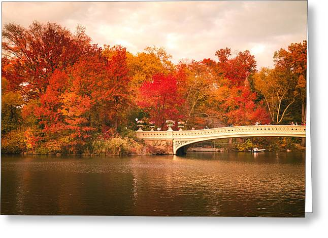 New York City In Autumn - Central Park Greeting Card by Vivienne Gucwa