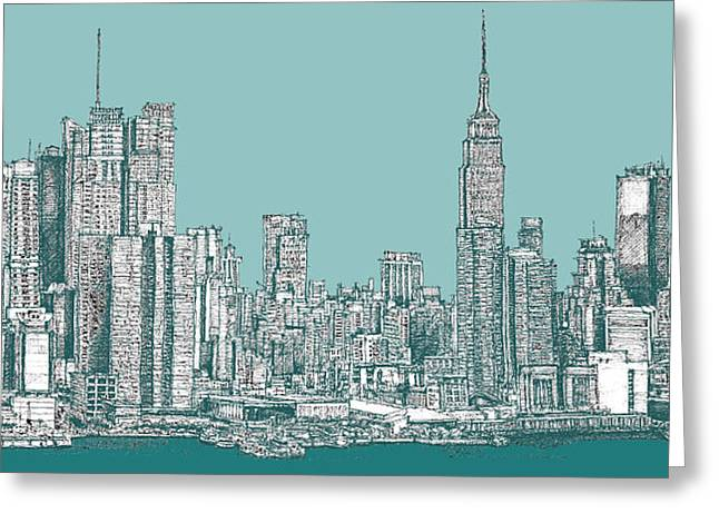 Skylines Drawings Greeting Cards - New York city in blue-green Greeting Card by Building  Art