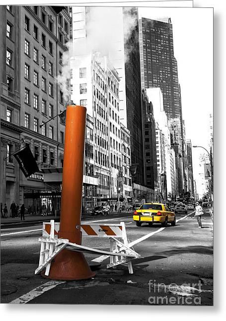 New York City Life Fusion Greeting Card by John Rizzuto