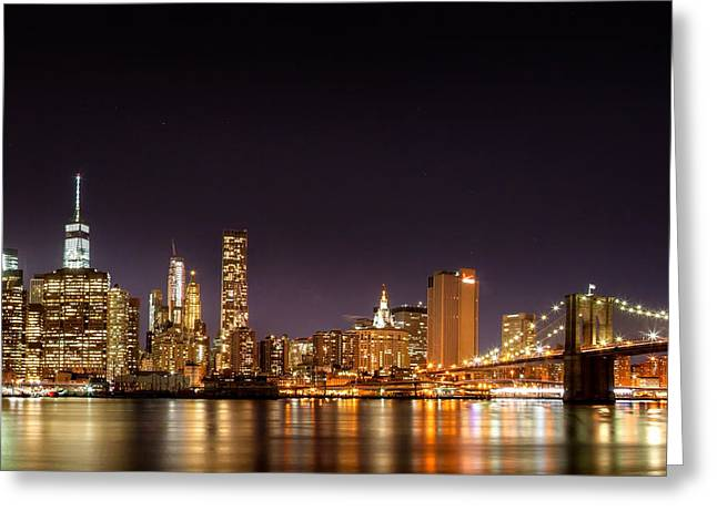 Futuristic Greeting Cards - New York City Lights At Night Greeting Card by Az Jackson