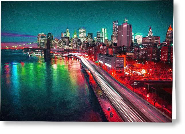Abstract Digital Paintings Greeting Cards - New York City Lights Red Greeting Card by Tony Rubino