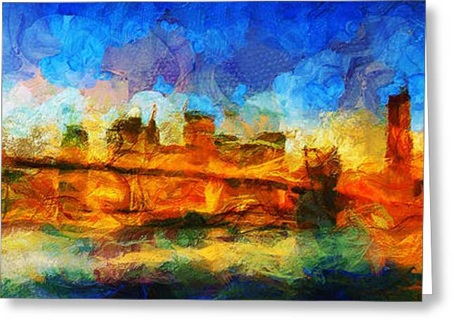 Woman Head Greeting Cards - New York - City Limits - Painting - Sir Josef Putsche Greeting Card by Sir Josef  Putsche