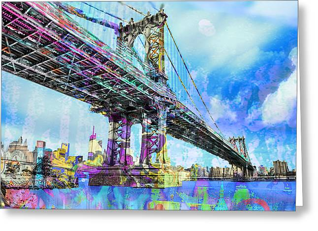 White River Mixed Media Greeting Cards - New York City Manhattan Bridge Blue Greeting Card by Tony Rubino