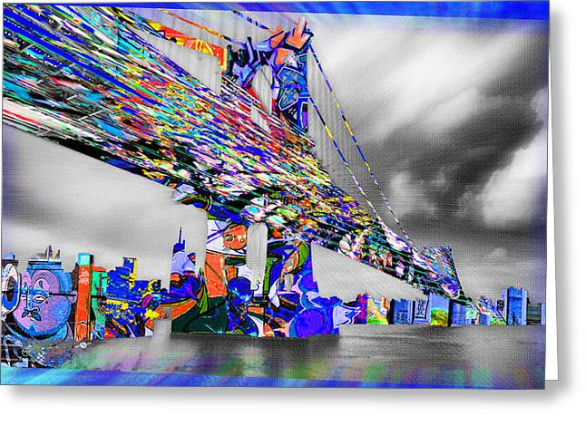 White River Mixed Media Greeting Cards - New York City Manhattan Bridge Pure Pop Blue Greeting Card by Tony Rubino