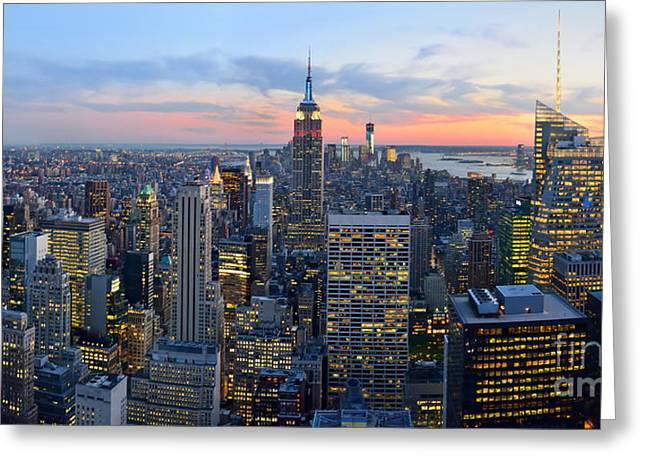 New York City Manhattan Empire State Building At Dusk Nyc Panorama Greeting Card by Jon Holiday