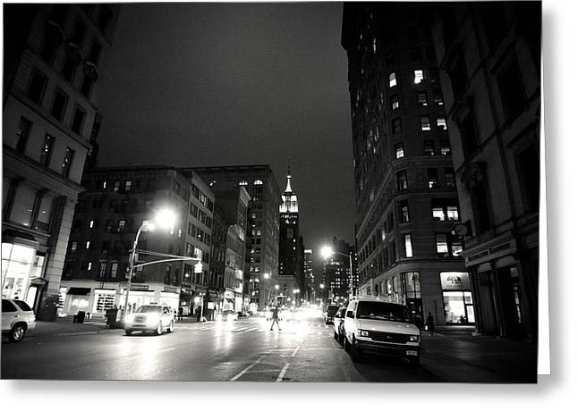 New York City - Midnight Greeting Card by Vivienne Gucwa