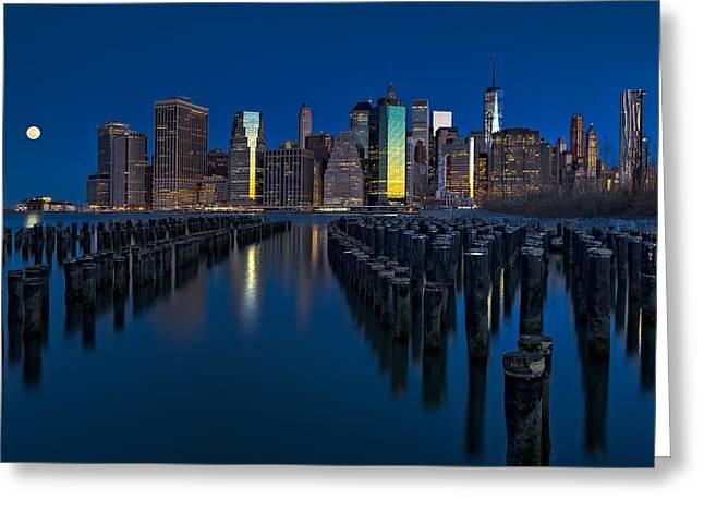 Brooklyn Bridge Park Greeting Cards - New York City Moonset Greeting Card by Susan Candelario