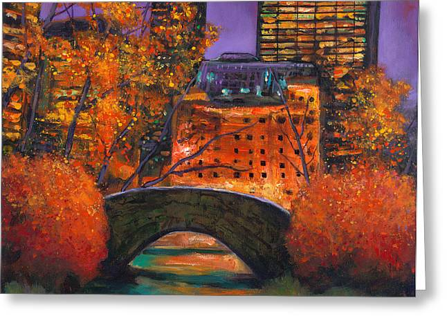 Skyline Paintings Greeting Cards - New York City Night Autumn Greeting Card by Johnathan Harris