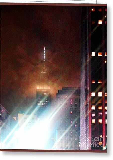 Gotham City Greeting Cards - New York City Night Greeting Card by Joseph J Stevens