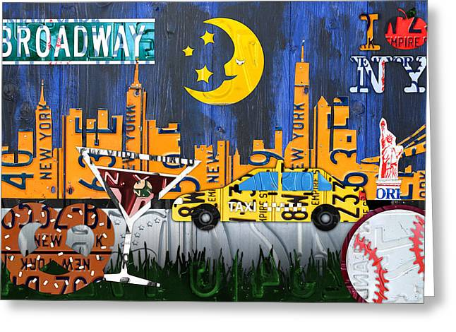 Statue Of Liberty Mixed Media Greeting Cards - New York City NYC The Big Apple License Plate Art Collage No 1 Greeting Card by Design Turnpike