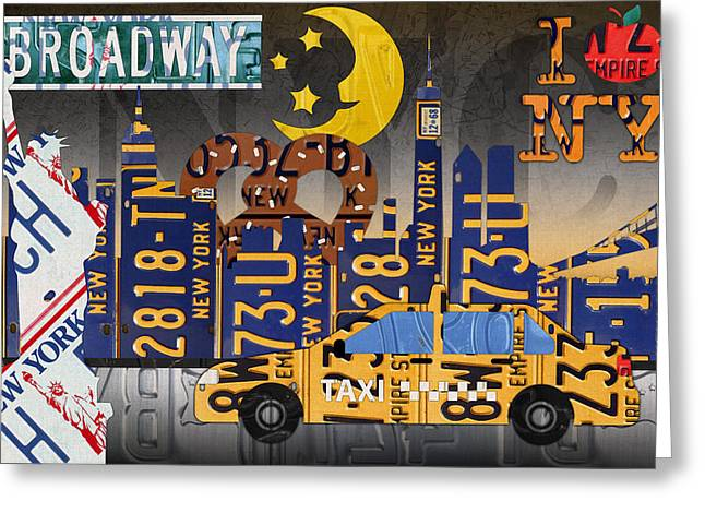 Statue Of Liberty Mixed Media Greeting Cards - New York City NYC The Big Apple License Plate Art Collage No 2 Greeting Card by Design Turnpike