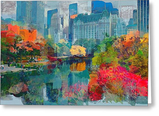Live Art Greeting Cards - New York City Park Greeting Card by Yury Malkov
