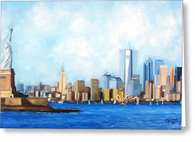 Leonardo Ruggieri Greeting Cards - New York City Rebirth Greeting Card by Leonardo Ruggieri