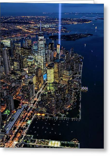 Illuminate Greeting Cards - New York City Remembers 9-11 Greeting Card by Susan Candelario