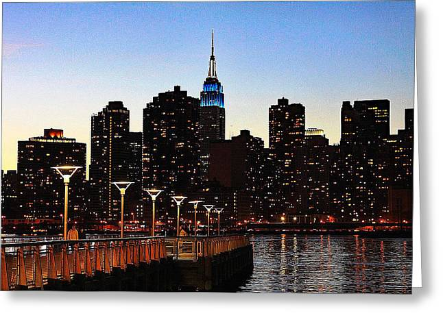 Sunset Prints Greeting Cards - New York City Skyline At Dusk Greeting Card by Bill Hayes