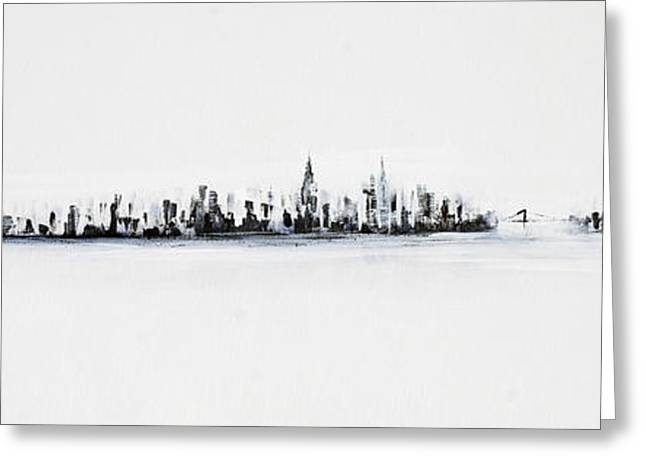 Skyline Paintings Greeting Cards - New York City Skyline Black And White Greeting Card by Jack Diamond