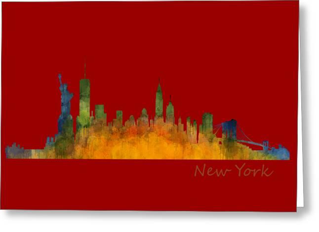 Manhatan Greeting Cards - New York City Skyline Hq v01 Greeting Card by HQ Photo