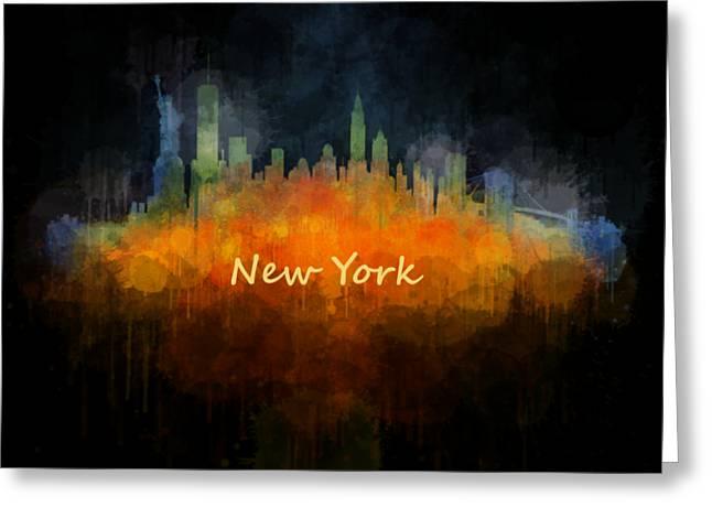 Manhatan Greeting Cards - New York City Skyline Hq V04 Greeting Card by HQ Photo