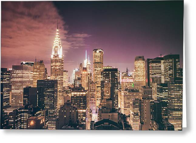 City Buildings Greeting Cards - New York City Skyline - Night Greeting Card by Vivienne Gucwa