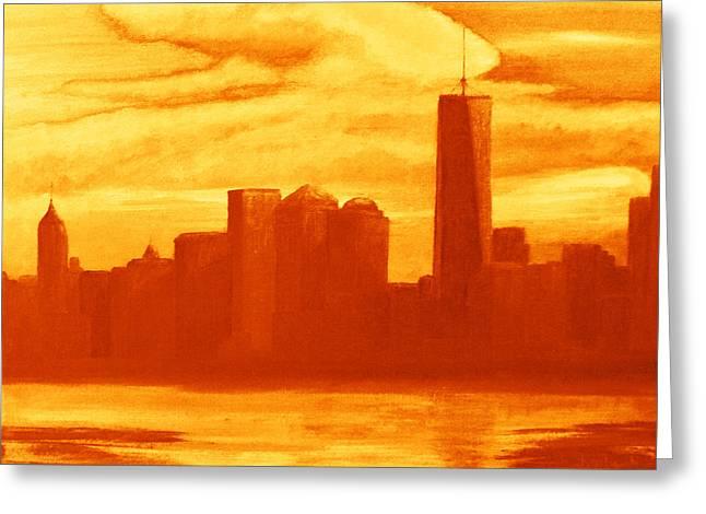 New Greeting Cards - New York City Skyline orange Greeting Card by Ken Figurski