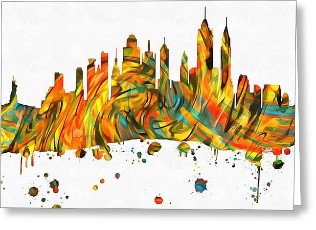 Skylines Mixed Media Greeting Cards - New York City Skyline Paint Splatter Greeting Card by Dan Sproul